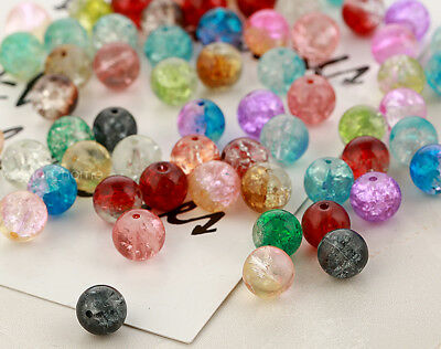4/6/8/10mm Round Crystal Crack Glass Loose Spacer Beads Jewelry DIY Necklace/F