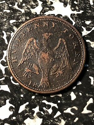 1813 Lower Canada 1/2 Halfpenny Token Lot#JM499 Pitted