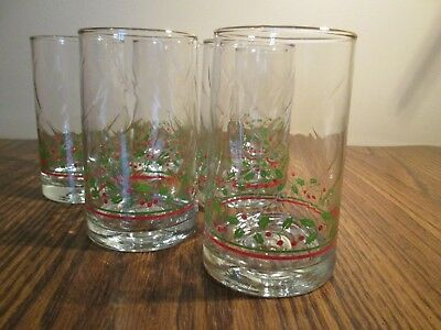 Vintage Arby's Set of 6 Holly Glasses 1984 Christmas Collection 16 Fl. Oz.