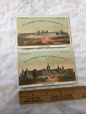 2 Antique Trade Cards F A Marcy Hartford Conn Dealer Boots Shoes 1875 Exhibition