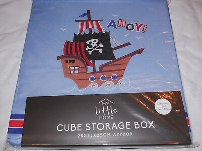 Folding Storage Cube Storage Box Boys Toys Home Organizer Blue Pirate Ahoy