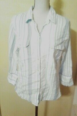 Cato Womens Top Plus Size 14/16W Blue Striped Button Down Shirt 3/4 Sleeve
