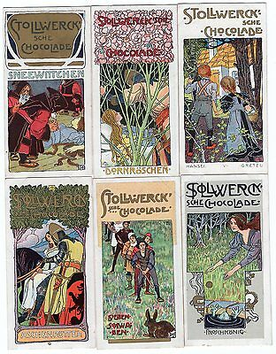Full Set of 6 Fairy Tale Cards from 1900 SNOW WHITE SLEEPING BEAUTY Frog Prince