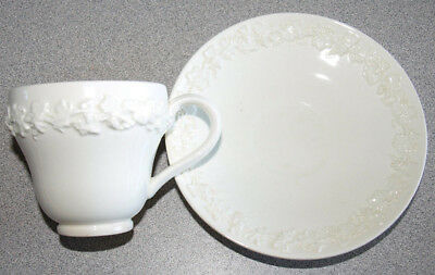 Wedgwood Queensware Embossed Smooth - Cream on Cream - Demitasse Cup & Saucer