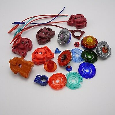 Beyblade Lot - Launchers Metal spinners Rip cords Parts Tomy Hasbro