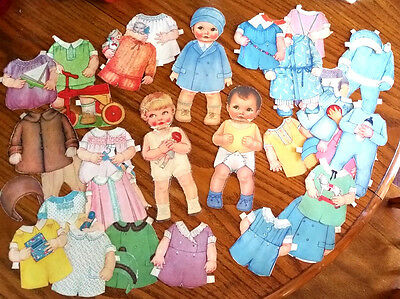 """2 Vintage BABY BOY & GIRL Paper Dolls 9"""" plus 26 Outfits & Dressed Cover Cut-Put"""