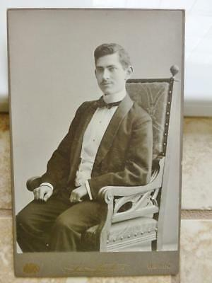 Antique Cabinet Photo c1910 Handsome Edwardian Young Gent Man Sits in Chair