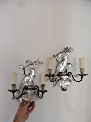 '20's PAIR FRENCH ART DECO DOUBLE CANDLE CRYSTAL PARROT SCONCES BY MAISON BAGUES