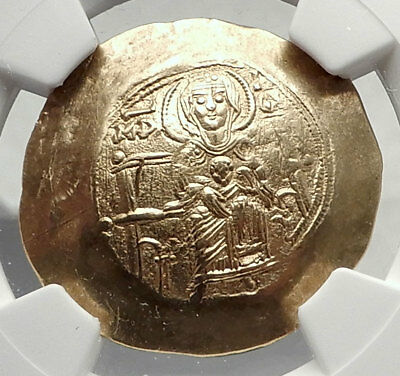 ISAAC II Angelus 1185AD Ancient GOLD Byzantine Coin MARY JESUS CHRIST NGC i73331