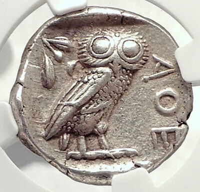 ATHENS Greece 440BC Ancient Silver Greek TETRADRACHM Coin Athena Owl NGC i73342