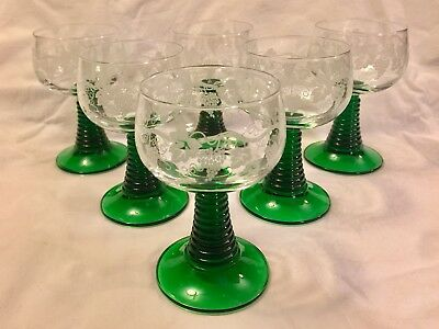 6 Romer/ Wine Glasses ~ Green Stemmed with Crystal Bowl