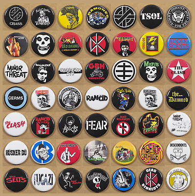 "Punk Rock Bands buttons X 49 Pins 1.25""  FAST SHIPPING 80's punk lot"