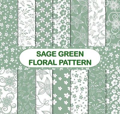 SAGE GREEN FLORAL PATTERN SCRAPBOOK PAPER - 14 x A4 pages