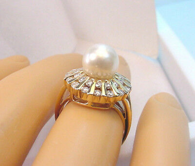 CULTURED AKOYA PEARL BRIGHT WHITE 7.80 mm. w/ .50 TCW DIAMONDS 14K GOLD RING