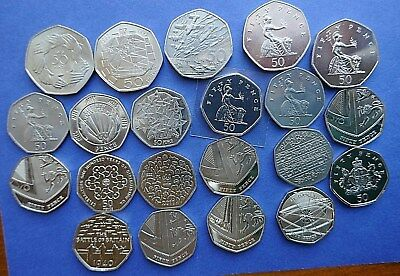 1969 to 2017 Bright Uncirculated or Proof 50 pence coins all Royal Mint issue