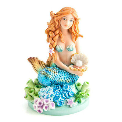 Hand Painted Mermaid Figurine with Hip Beachy Looks and Shiny Metallic Accents