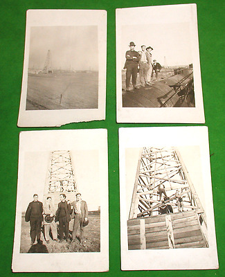 Lot of Four Vintage Real Photo Postcards of Oil Well Derrick Early RPPC