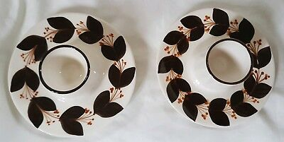2x Vintage Jersey Pottery Retro Brown Flowers Egg Cups