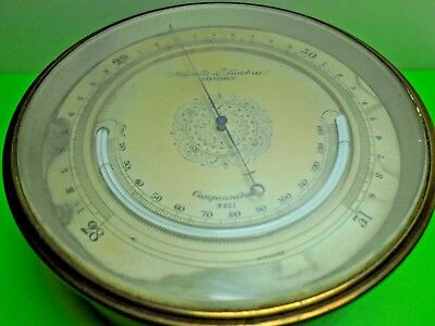 "Antique Old Vintage Negretti & Zambra 382 4 3/4"" Aneroid Barometer Thermometer"
