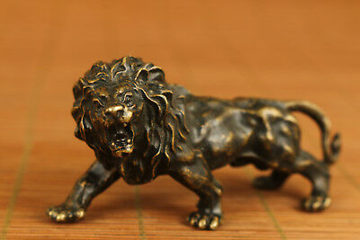 Antique Chinese Old Bronze Handmade Carved Lion Statue Figure