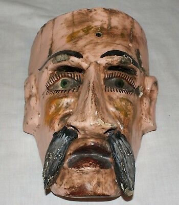Old Mexican Folk Art Colorful Handmade Wood Man Mustache Mask or Wall Hanging
