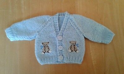 Prem premature baby cardigan hand knitted boy blue with embroidered teddy