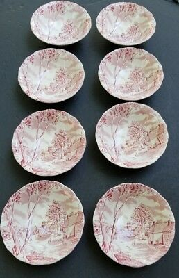 Grindley Sunday Morning China 8 Pink Cereal  / Salad Bowls Tunstall England