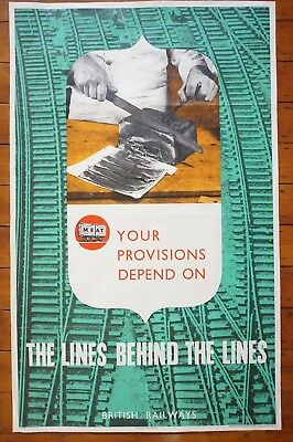 1940s The Lines Behind The Lines Meat Wartime WW2 Original Railway Poster