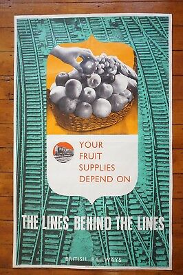 1940s The Lines Behind The Lines Fruit Wartime WW2 Original Railway Poster