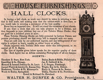 1890 Ads Durfee Hall Clock English Tubular