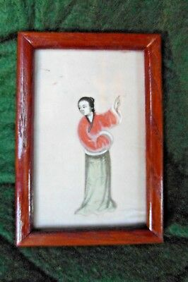 Antique Framed Chinese Figurine Painting on Rice Paper