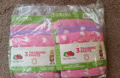 Fruit of the Loom Toddler Girls 6 Training Pants Pink Purple Hearts Size 3T NEW