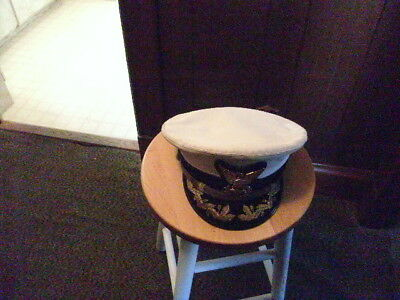 vintage bancroft military U.S. Coastguard - COMMANDER WHITE OFFICER HAT CAP 0b6aabb03188