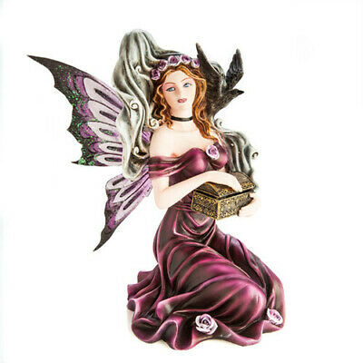 Maroon Fairy Figurine with Ghost Home Decor Highly Detailed Figurine Collection