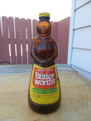 Vintage Mrs. Butterworth Brown Glass Syrup Bottle with Cap & Label