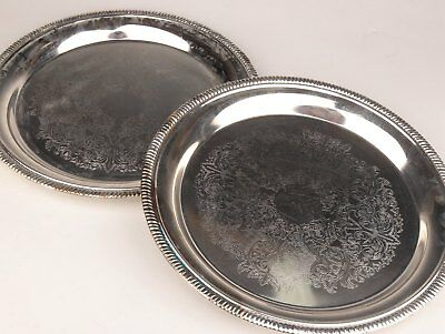 2 High - Grade Tray Plated Silver Decorated With Beautiful Dark Flower