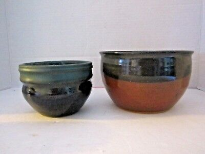"Lot of 2 ceramic art studio pottery bowls. Artist Signed. Green glaze. 4.5"" & 6"""