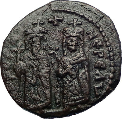 PHOCAS & LEONTINA 603AD Quality Authentic  Medieval Byzantine Coin  i73436