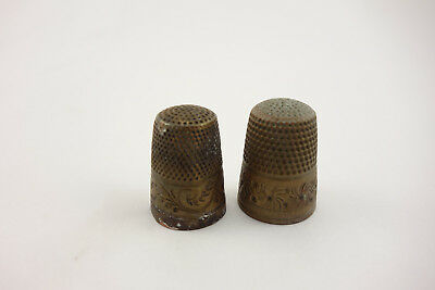 Pair of Antique Brass Sewing Thimbles