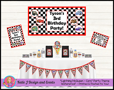 Disney Cars LIGHTNING MCQUEEN PERSONALISED Birthday Party Decorations Supplies