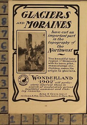 1902 Wonderland Glaciers Moraine Resort Travel Vacation Vintage Art Ad  Ze11