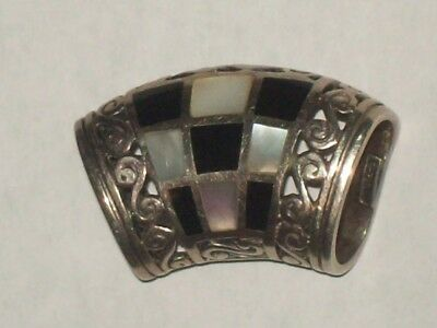 925-Sterling-Thailand-Napkin-Scarf-Towel-?-Holder-Ring-Clip-Mother of Pearl
