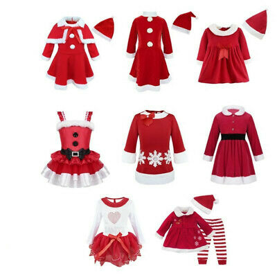 Toddler Kids Girls Christmas Costumes Santa Red Princess Dresses Outfits Clothes