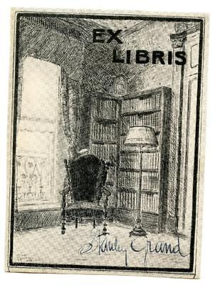 Early 1900s Engraved Bookplate Ex Libris Stanley Grand Library Bookshelves
