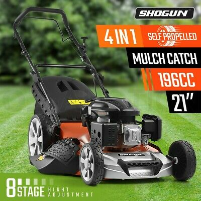 "SHOGUN 4-In-1 Cordless Lawn Mower Self Propelled 21"" 196cc 4 Stroke Petrol Mower"