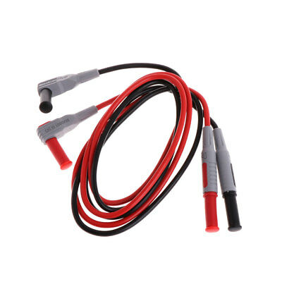 2 Pcs Multimeter 4mm Male To Male Banana Plug Probe Test Cable Injection Molded