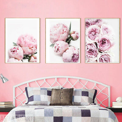 JN_ Modern Peony Canvas Painting Poster Wall Picture Home Bedroom Hanging Deco