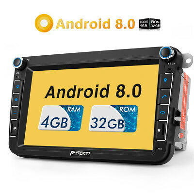"8"" Android 8.0 Autoradio 2 Din Car Stereo GPS For VW Golf Passat Skoda 4GB+32GB"