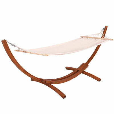 "New Outdoor Wooden Curved Arc Hammock Stand with Cotton Hammock 123""X46""X48"""