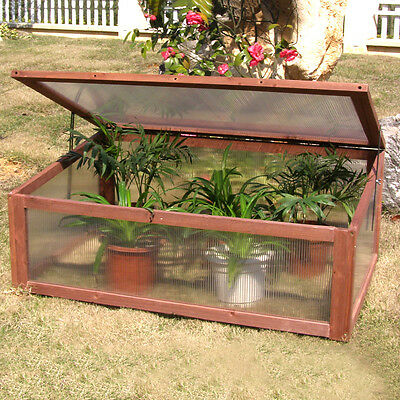 Portable Wooden Green House Cold Frame Garden Raised Plants Bed Protection New